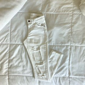 Old Navy Mid-rise Distressed White Jeans